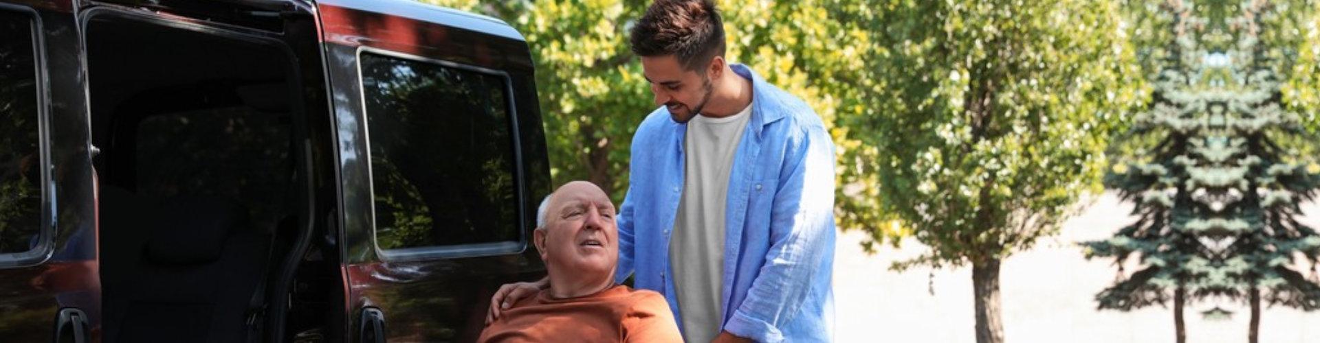 senior man with his male caregiver